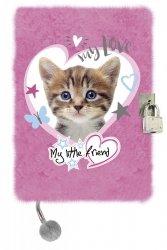 Pamiętnik St. Majewski z kłódką CAT PINK kotek na różowym tle włochacz (23240)