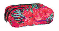 Piórnik dwukomorowy saszetka COOLPACK CLEVER w egzotyczne kwiaty, CARIBBEAN BEACH 746 (73226)