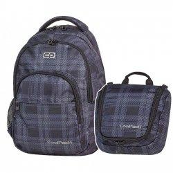Zestaw Coolpack Plecak Kosmetyczka DERBY 376 szary w kratkę 2 cz. (58902SET)