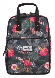 PLECAK CoolPack CUBIC 2w1 torebka kwiaty na grafitowym tle, CORAL HIBISCUS (12317CP)