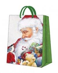 Torebka świąteczna LOVING SANTA rozm L, Paw (AGB020902)