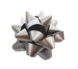 Rozetka wstążka do pakowania prezentów SREBRNA  8,5 cm