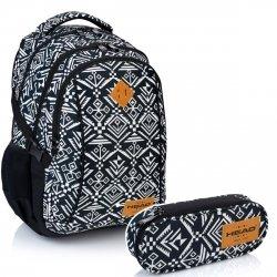 ZESTAW Plecak + Piórnik HEAD AZTEC W biało - czarne wzory (502018029SET)