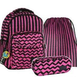 ZESTAW 3 el. Plecak szkolny młodzieżowy BackUP PASKI RÓŻ (PLB2L07SET3CZ)