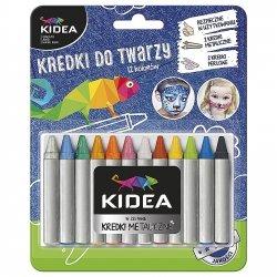Kredki do malowania twarzy 12  kolorów KIDEA (KDT12KA)