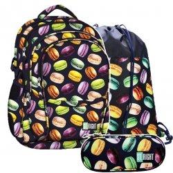 ZESTAW 3 el. Plecak szkolny młodzieżowy ST.RIGHT w makaroniki, MACARONS BP1 (21802SET3CZ)