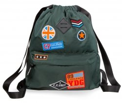 Plecak Sportowy Worek na sznurkach CoolPack URBAN zielony w znaczki, BADGES GREEN (B73054)