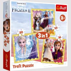 TREFL Puzzle 3 w 1 FROZEN 2 Kraina Lodu, Moc Anny i Elsy (34847)