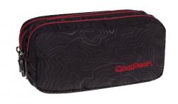 Piórnik trzykomorowy saszetka COOLPACK PRIMUS czarny z czerwonymi dodatkami, TOPOGRAPHY RED 978 (71260)
