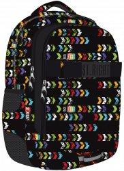 Plecak szkolny młodzieżowy ST.RIGHT czarny w kolorowe strzałki, ST.ARROWS BP34 (18208)