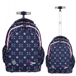 Plecak szkolny młodzieżowy na kółkach ST.RIGHT w kocie łapki, CATS & PAWS TB1 (27347)