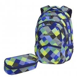 ZESTAW 2 el. Plecak CoolPack COLLEGE niebiesko zielona krata, BLUE PATCHWORK (81648CPSET2CZ)