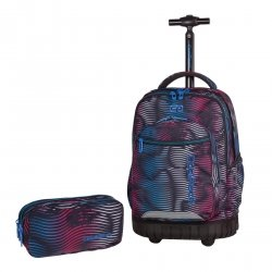 ZESTAW 2 el. Plecak CoolPack SWIFT  na kółkach w kolorowe paski, FLASHING LAVA 946 (70416SET2CZ)
