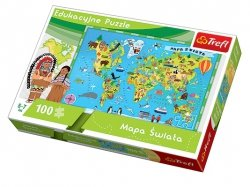 TREFL Puzzle Edukacyjne 100 el. Mapa Świata (15502)