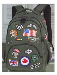 Plecak szkolny młodzieżowy COOLPACK BENTLEY zielony w znaczki, BADGES GREEN (89739CP)