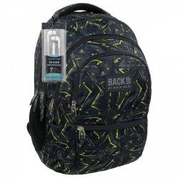 Plecak szkolny młodzieżowy Back UP zielone wzory GREEN SCRATCH + słuchawki (PLB1C31)