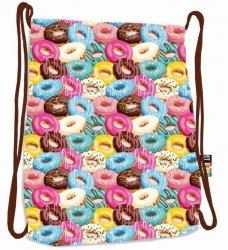 Plecak Worek na sznurkach brązowy w pączki, DONUTS ST.RIGHT SO11 (19892)