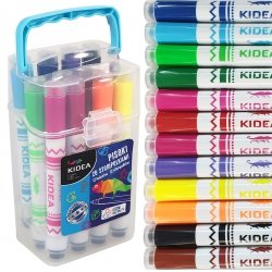 Pisaki ze stempelkami w pudełku KIDEA 12 kolorów (PSP12KA)