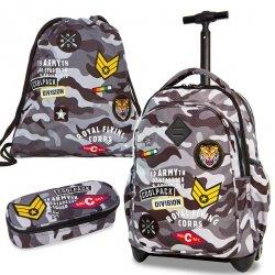Zestaw Plecak na kółkach Coolpack Piórnik Worek CAMO BLACK BADGES (23896SET)