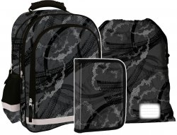 Plecak szkolny w szare wzory GREY TRAIL (PL15BDF12SET3) ZESTAW 3 el.