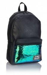 Plecak HASH czarny w turkusowe cekiny FASHION TURQUOIS SEEINGS HS-134 (502019088)
