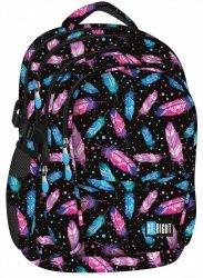 Plecak szkolny młodzieżowy ST.RIGHT czarny w kolorowe piórka, FEATHERS BP1 (17713)