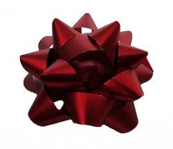 Rozetka wstążka do pakowania prezentów CZERWONA 8,5 cm