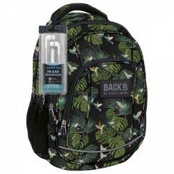 Plecak szkolny młodzieżowy Back UP kolorowe ptaki TROPICAL JUNGLE + słuchawki (PLB1A33)
