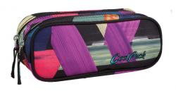 Piórnik dwukomorowy saszetka COOLPACK CLEVER w kolorowe paski, COLOR STROKES 675 (78009)