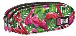 Piórnik dwukomorowy ST.RIGHT w egzotyczne rośliny i flamingi, FLAMINGO PINK & GREEN PU2 (18642)