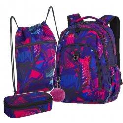 ZESTAW 3 el. Plecak CoolPack STRIK E granatowy w różowe wzory, CRAZY PINK ABSTRACT + pompon (87599CPSET3CZ)