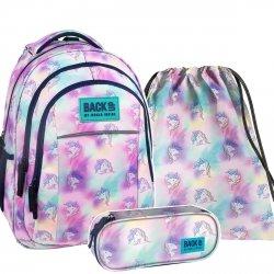 ZESTAW 3 el. Plecak szkolny młodzieżowy BackUP JEDNOROŻEC (PLB2H15SET3CZ)