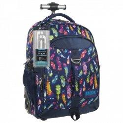 Plecak szkolny młodzieżowy na kółkach Back UP kolorowe piórka FEATHERS + słuchawki (PLB1K24)