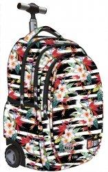 Plecak szkolny młodzieżowy na kółkach ST.RIGHT w białe pasy i kwiaty, TROPICAL STRIPES TB1 (18383)