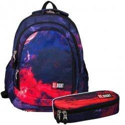 ZESTAW 2 el. Plecak szkolny ST.RIGHT młodzieżowy w płomienie, FLAMES BP4 (21321SET2CZ)