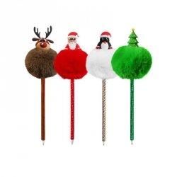 Długopis świąteczny z pomponem RENIFER INCOOD.  (0106-0269)