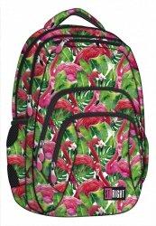 Plecak szkolny młodzieżowy ST.RIGHT w egzotyczne rośliny i flamingi, FLAMINGO PINK & GREEN BP25 (18611)