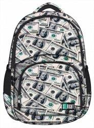 Plecak szkolny młodzieżowy ST.RIGHT czarny w dolary, DOLLARS BP23 (17195)