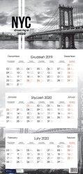 Kalendarz ścienny trójdzielny NOWY JORK NEW YORK 2020 (72812)