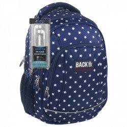 Plecak szkolny młodzieżowy Back UP gwiazdki na granatowym tle STARS + słuchawki (PLB1A25)