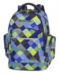 Plecak szkolny młodzieżowy COOLPACK BRICK niebiesko zielona krata, BLUE PATCHWORK (81662CP)