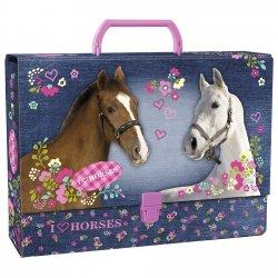 Gruba teczka z rączką I LOVE HORSES KOŃ (TRGSKO)