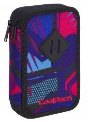 Piórnik CoolPack dwukomorowy z wyposażeniem JUMPER 2 granatowy w różowe wzory, CRAZY PINK ABSTRACT (91022CP)