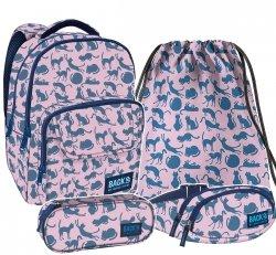 ZESTAW 4 el. Plecak szkolny młodzieżowy BackUP KOTY (PLB2L18SET4CZ)