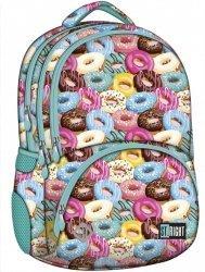 Plecak szkolny młodzieżowy ST.RIGHT turkusowy w pączki, DONUTS BP7 (16891)
