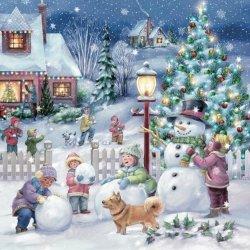 Serwetki świąteczne bożonarodzeniowe ZIMA Maki (SLGW019101)