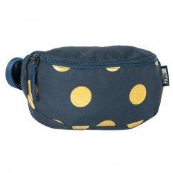 Saszetka na pas torba nerka GOLD CIRCLE, niebieska w złote grochy PASO (17510UD)
