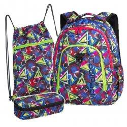 ZESTAW 3 el. Plecak CoolPack STRIKE kolorowe wzory geometryczne, GEOMETRIC SHAPES + latarka (85229CPSET3CZ)