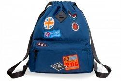 Plecak Sportowy Worek na sznurkach CoolPack URBAN niebieski w znaczki, BADGES BLUE (B73053)