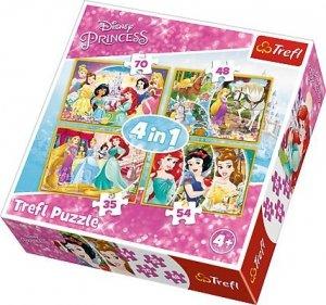 TREFL Puzzle 4 w 1 Radosny dzień księżniczek, Księżniczki (34309)